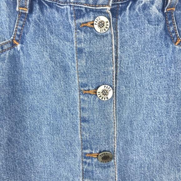 Vintage 90s Blue Denim Silver Button Down Overall Short Jean Skirt Skort size SM